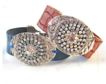 Swarovski leather cuff bracelet, embelished crystal bracelet, blue or salmon pink boho chic bracelet, rhinestone leather bangle bracelet
