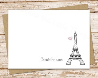 personalized note cards . eiffel tower notecards . paris . folded personalized stationery stationary . thank you cards . set of 8