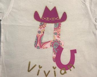 Custom Cowgirl Birthday T-shirt, Custom Birthday T-shirt