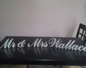 "Swarovski Crystal ""Mr & Mrs PLUS up to FOUR LETTERS last name 4"" standing wedding sign, bling name sign, rhinestone sweetheart table sign"