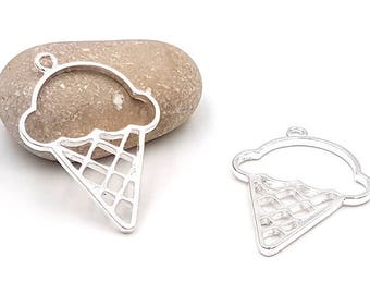 5 ice cream cone charm 50mm silver creations in resin