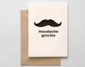 Moustache Gracias Card