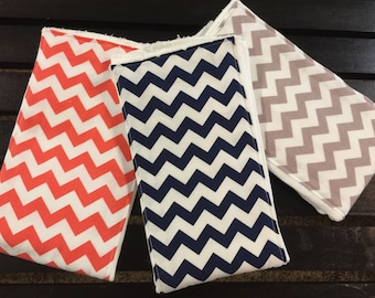 Chevron baby burp cloths in coral, navy, and gray