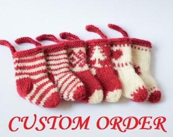 Knit mini Christmas stocking/ SET OF 7  small miniature socks/Christmas stocking ornaments/ Christmas tree decorations/ Christmas gift