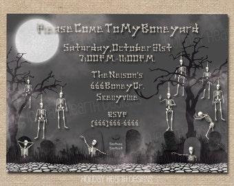 halloween invitation, halloween invite, tombstone digital invite, halloween party, halloween party invite - Digital File - DIY PRINTABLE
