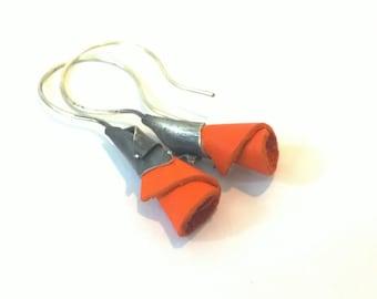 Eco friendly leather earrings