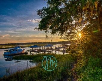 Low Country Sunrise, Beaufort South Carolina, Fine Art Print, Photography, Sunrise, Spanish Moss, Live Oak