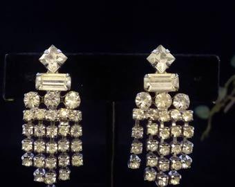 Vintage Rhinestone Drop Earrings, screw on, Bridal Wedding Jewelry, bridesmaids, supplies, findings Antique, We have more,  #704