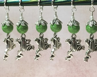 Little Frog Stitch Marker Set - Snag Free Green Knitting Markers - Gifts for Knitters
