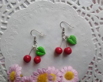 Earrings cherry - jewelry polymer clay