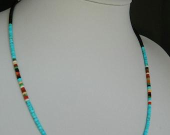 "Native American Santo Domingo Kingman Turquoise Apple Coral Jet Heishi Sterling Necklace Dorene Calabaza 17 3/8-21 3/8"""