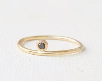 14k Black Diamond floating ring, tiny diamond ring, solid gold ring 1.3mm, stacking gold ring, midi ring, black diamond ring