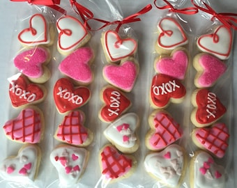 Valentine's Day Sugar Cookie Gift / party favor / heart cookies / Valentines party / mini cookies / Valentines gift / valentines cookie