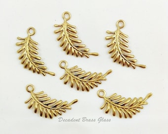 Brass Fern, Fern Leaf, Leaf Charm, Right Facing Fern, Leaf Stamping, Brass Fern Leaves, Earring Drop, 29mm x 12mm - 6 pcs. (r323)