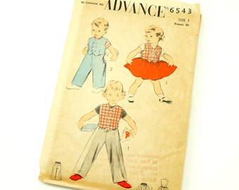 Vintage 1950s Toddler Size 1 Brother Sister Weskit, Slack and Skirt Advance Sewing Pattern 6543 Complete / chest 20 waist 19.5