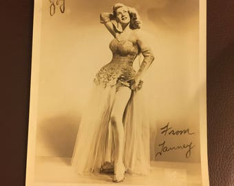 1950's Signed burlesque photograph show girl Tanney 8x10