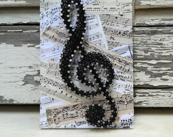 Handmade String Art Sign, Music Scores, Sol Key, clef, Wall decoration,