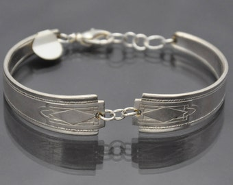 Art Deco Diamond Pattern Silverware Bracelet made from Vintage Silver Plated Spoons