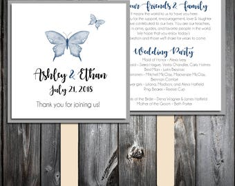 Butterfly Program Fans Kit -  Printing Included. Wedding ceremony programs