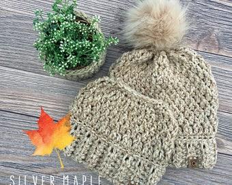 MESSY BUN Hat Pattern, Crochet Hat Pattern, Crochet Pattern, Chunky Ponytail Beanie, Messy Bun Beanie, Ponytail Hat, BIRCHWOOD Beanie