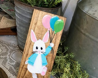 Hand Painted Bunny Sign, Spring Decor, Easter Bunny, Wood Sign, Bunny Art