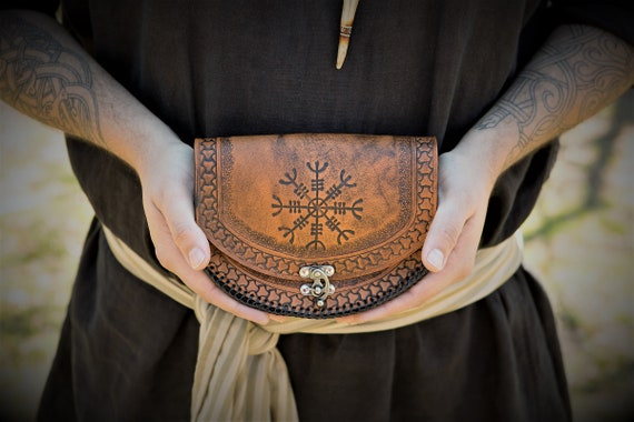 Viking Leather Belt Pouch Helm of Awe - Icelandic Stave - Festival / Bushcraft Possibilities Bag