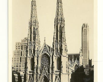 Vintage RPPC St. Patrick's Cathedral, New York City Real Photo Postcard