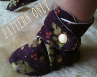 PATTERN & Tutorial for Baby Booties Soft Shoes with Gripper Sole 12-24 months