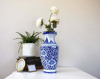 Blue and White Vintage Floral Vase / Ceramic / Large / Antique / Blue Willow / China Pattern / Feminine / Peonies / Classic / Spring