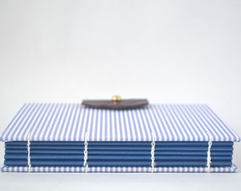 Blue & White Stripes Journal, Hand Bound Coptic Journal, Handmade Journal with Reclaimed Leather and Brass Button