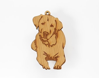 Golden Retriever Ornament from Timber Green Woods. Personalize it with Name Engraving! Made in the U.S.A! - Cherry Wood