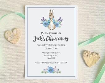 Christening Invitation, Peter Rabbit Baptism invitation, Beatrix Potter Christening invite, blue boys baptism invite
