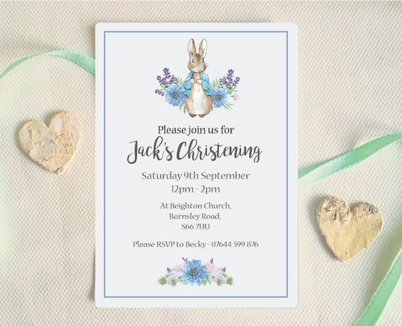 Christening Invitation Peter Rabbit Baptism Invitation