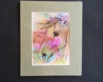 Horse painting, alcohol inking,original painting, birthday Gift,foals and horses,