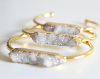 Quartz bracelet - bridal bracelet - druzy bracelet - cuff bracelet - gold cuff bracelet - boho bracelet - bohemian wedding - raw stone
