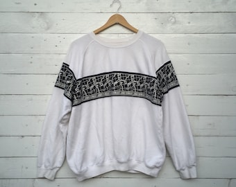 Vintage JUNKO SHIMADA Sweatshirt Rare Junko Shimada White Colour Japan Fashion Made in Japan Size M x17z9AOT