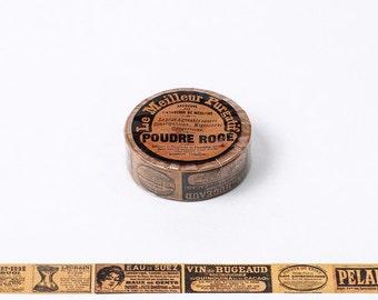 Vintage Washi Tape, Vintage Warning Sign, Kraft Washi Roll, Vintage, Planner Goodies, Scrapbook Supplies