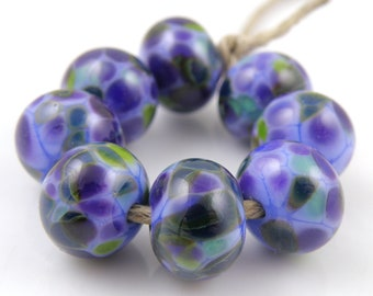 Periwinkle Pop SRA Lampwork Handmade Artisan Glass Donut/Round Beads Made to Order Set of 8 8x12mm