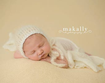 Mohair Newborn Bonnet Baby Photo Prop Hand Knit Cap Infant Girl Hat Coming Home Outfit Knitted Organic Photography Fall Going Ballet Winter