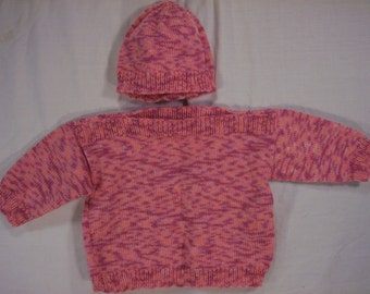 Girls boat neck sweater and cap size 1 yr to 18 months