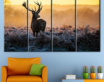 Animal Art, Deer Print, Deer Canvas, Zoo Animals, Nature Photography, Deer Early Morning, Deer Canvas, Deer Art, Deer on the Horizon