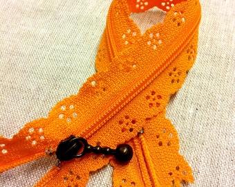 Zipper lace - orange - length 20 cm T26