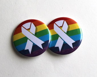 "Rainbow Ribbon | LGBT Community Pride | 1.5"" Button"