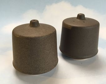 Vintage Stoneware Khaki Danish Modern Salt and Pepper Shakers Pottery