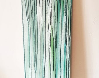 Blue-Green Acrylic Abstract Painting