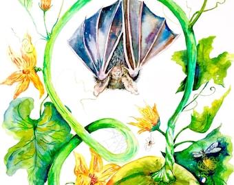 "Watercolor Print, Bat Art, Giclee Print, Halloween, Gardener Gift, Pumpkin Painting, 8""x10"""