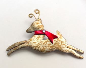 Leaping Reindeer Pin holiday brooch