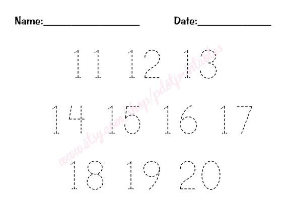 11 20 Number Trace Worksheet Pdf Printable