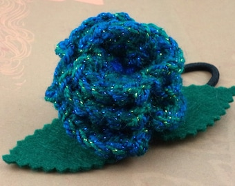 Crocheted Rose Ponytail Holder or Bracelet - Glittery Blues and Greens (SWG-HP-ZZ07)
