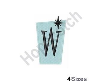 Retro Rectangle W - Machine Embroidery Design, Letter W, Retro, Rectangle
